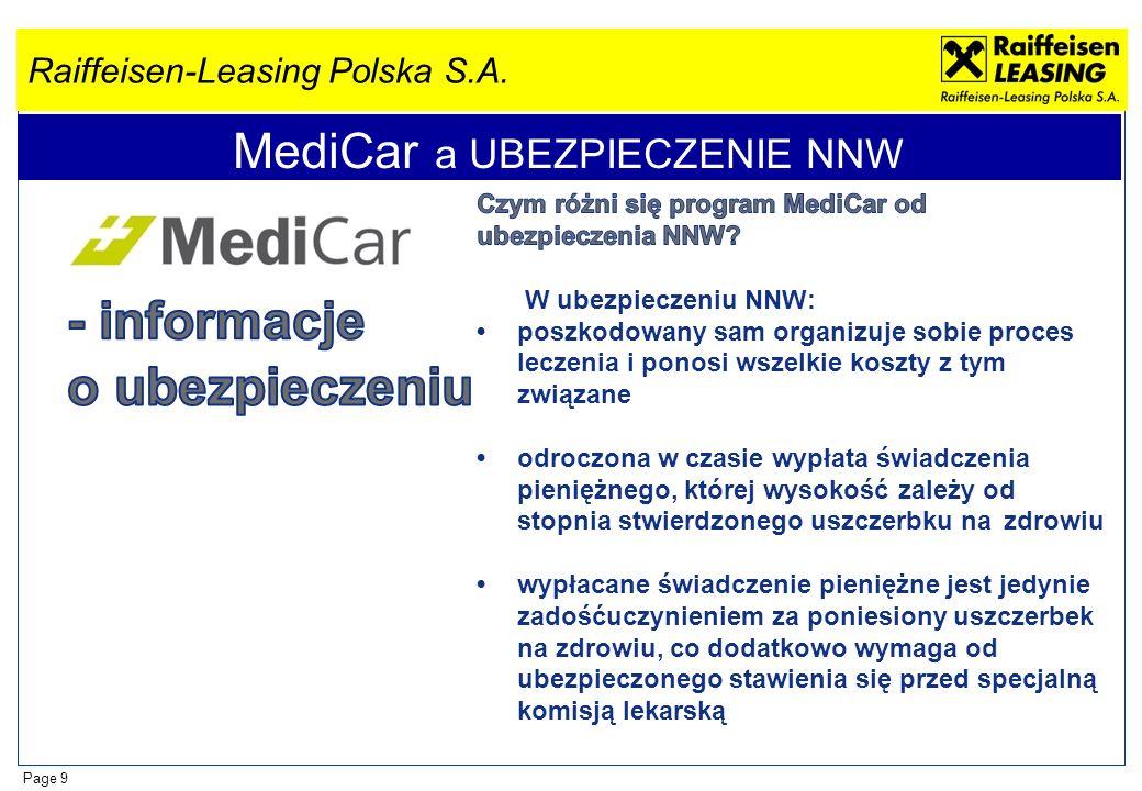 Raiffeisen-Leasing Polska S.A. Page 9 MediCar a UBEZPIECZENIE NNW