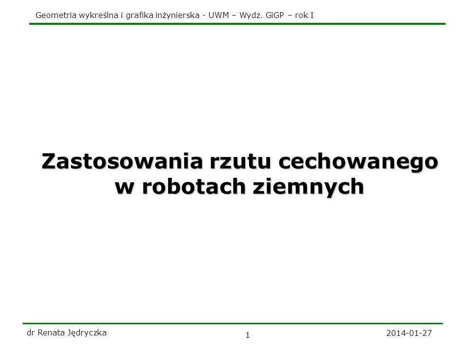 Geometria wykreślna i grafika inżynierska - UWM – Wydz. GiGP – rok I 2014-01-27 dr Renata Jędryczka 1 Zastosowania rzutu cechowanego w robotach ziemny