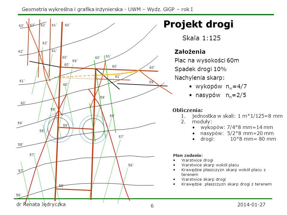 Geometria wykreślna i grafika inżynierska - UWM – Wydz. GiGP – rok I 2014-01-27 dr Renata Jędryczka 6 Skala 1:125 Założenia Plac na wysokości 60m Spad