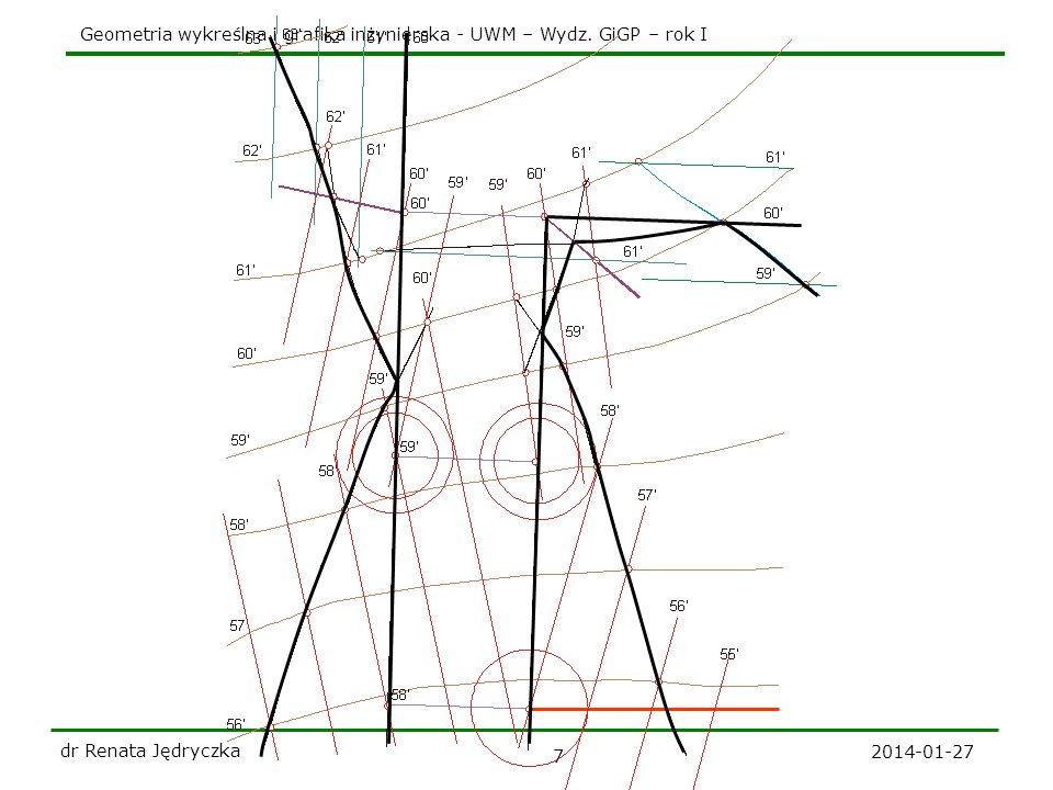 Geometria wykreślna i grafika inżynierska - UWM – Wydz. GiGP – rok I 2014-01-27 dr Renata Jędryczka 7