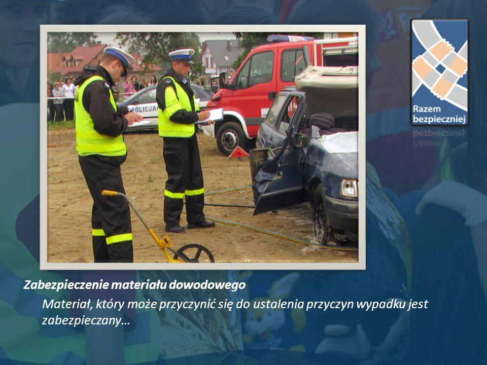 Zabezpieczenie materiału dowodowego Materiał, który może przyczynić się do ustalenia przyczyn wypadku jest zabezpieczany…