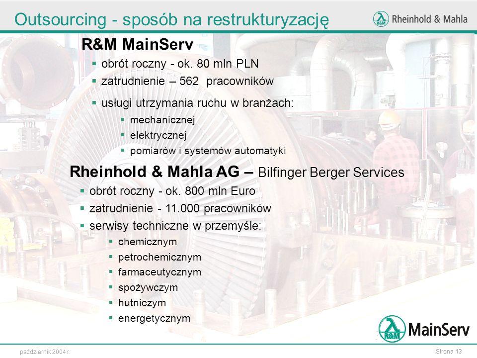 Strona 13 październik 2004 r. Outsourcing - sposób na restrukturyzację R&M MainServ obrót roczny - ok. 80 mln PLN zatrudnienie – 562 pracowników usług