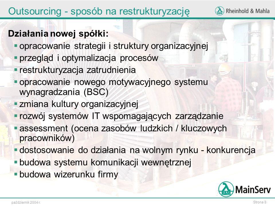 Strona 8 październik 2004 r. Outsourcing - sposób na restrukturyzację Działania nowej spółki: opracowanie strategii i struktury organizacyjnej przeglą