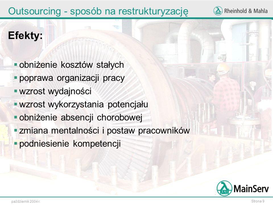 Strona 9 październik 2004 r. Outsourcing - sposób na restrukturyzację Efekty: obniżenie kosztów stałych poprawa organizacji pracy wzrost wydajności wz