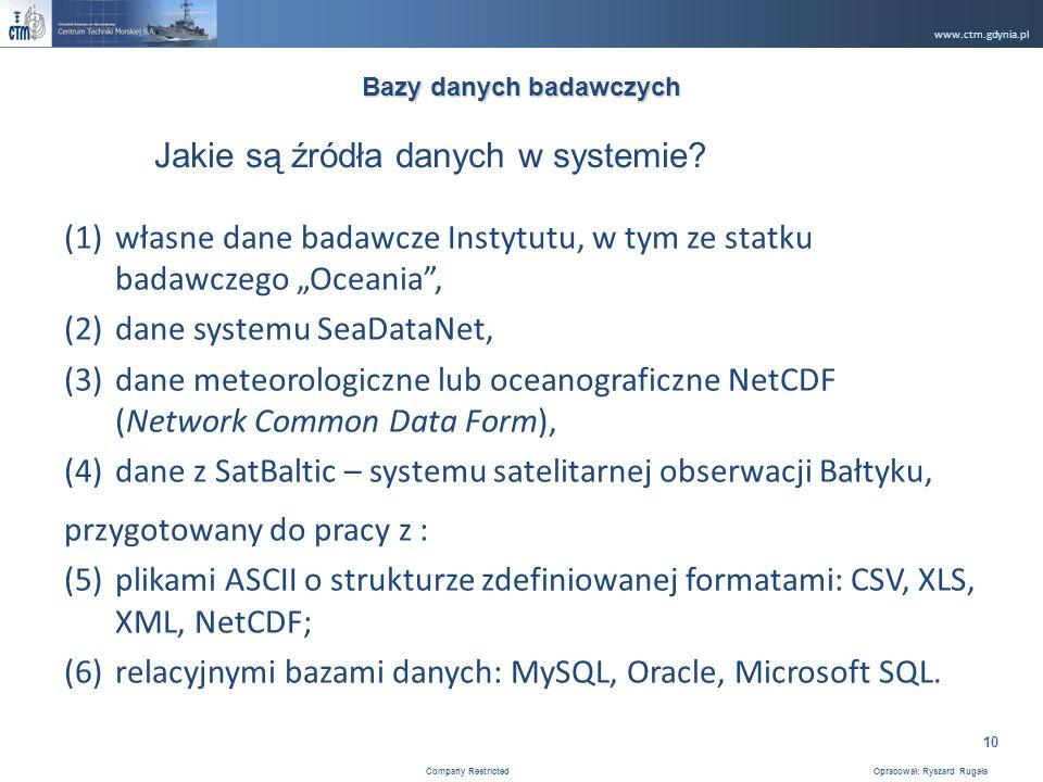 www.ctm.gdynia.pl Company Restricted Opracował: Ryszard Rugała 10 (1)własne dane badawcze Instytutu, w tym ze statku badawczego Oceania, (2)dane systemu SeaDataNet, (3)dane meteorologiczne lub oceanograficzne NetCDF (Network Common Data Form), (4)dane z SatBaltic – systemu satelitarnej obserwacji Bałtyku, przygotowany do pracy z : (5)plikami ASCII o strukturze zdefiniowanej formatami: CSV, XLS, XML, NetCDF; (6)relacyjnymi bazami danych: MySQL, Oracle, Microsoft SQL.