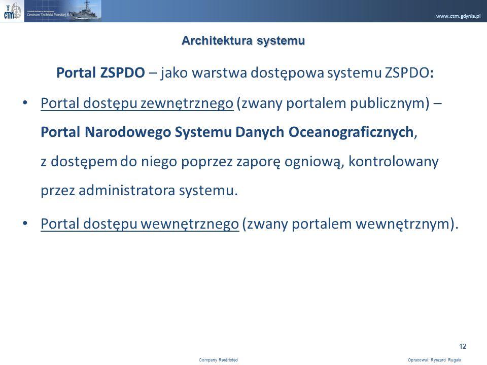 www.ctm.gdynia.pl Company Restricted Opracował: Ryszard Rugała 12 Portal ZSPDO – jako warstwa dostępowa systemu ZSPDO: Portal dostępu zewnętrznego (zwany portalem publicznym) – Portal Narodowego Systemu Danych Oceanograficznych, z dostępem do niego poprzez zaporę ogniową, kontrolowany przez administratora systemu.
