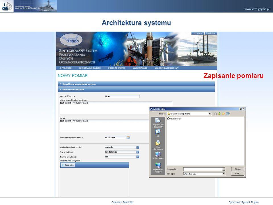 www.ctm.gdynia.pl Company Restricted Opracował: Ryszard Rugała 14 Architektura systemu Zapisanie pomiaru