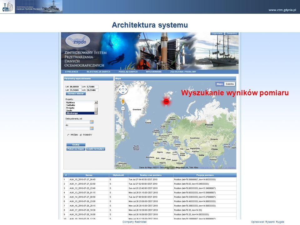 www.ctm.gdynia.pl Company Restricted Opracował: Ryszard Rugała 15 Architektura systemu Wyszukanie wyników pomiaru