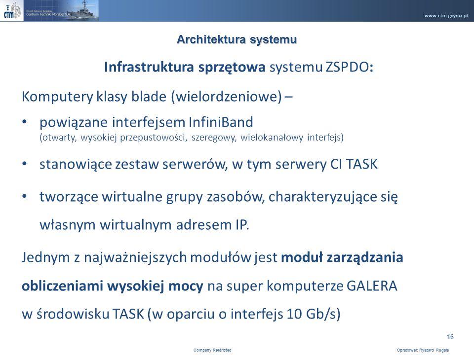 www.ctm.gdynia.pl Company Restricted Opracował: Ryszard Rugała 16 Infrastruktura sprzętowa systemu ZSPDO: Komputery klasy blade (wielordzeniowe) – powiązane interfejsem InfiniBand (otwarty, wysokiej przepustowości, szeregowy, wielokanałowy interfejs) stanowiące zestaw serwerów, w tym serwery CI TASK tworzące wirtualne grupy zasobów, charakteryzujące się własnym wirtualnym adresem IP.