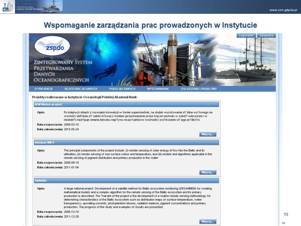 www.ctm.gdynia.pl Company Restricted Opracował: Ryszard Rugała 19 Wspomaganie zarządzania prac prowadzonych w Instytucie