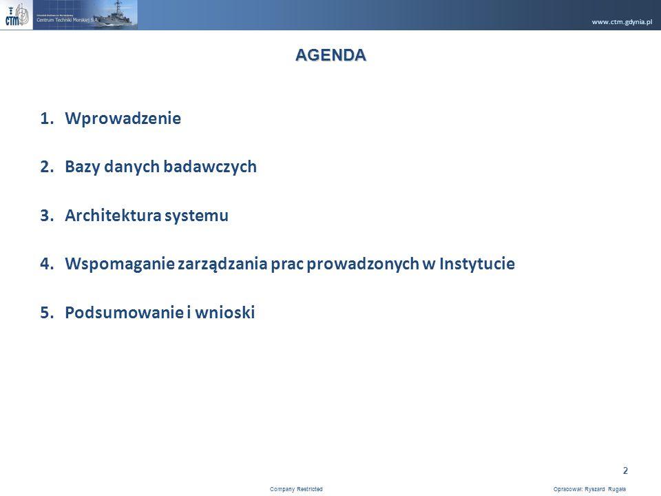 www.ctm.gdynia.pl Company Restricted Opracował: Ryszard Rugała 2 1.Wprowadzenie 2.Bazy danych badawczych 3.Architektura systemu 4.Wspomaganie zarządzania prac prowadzonych w Instytucie 5.Podsumowanie i wnioski AGENDA