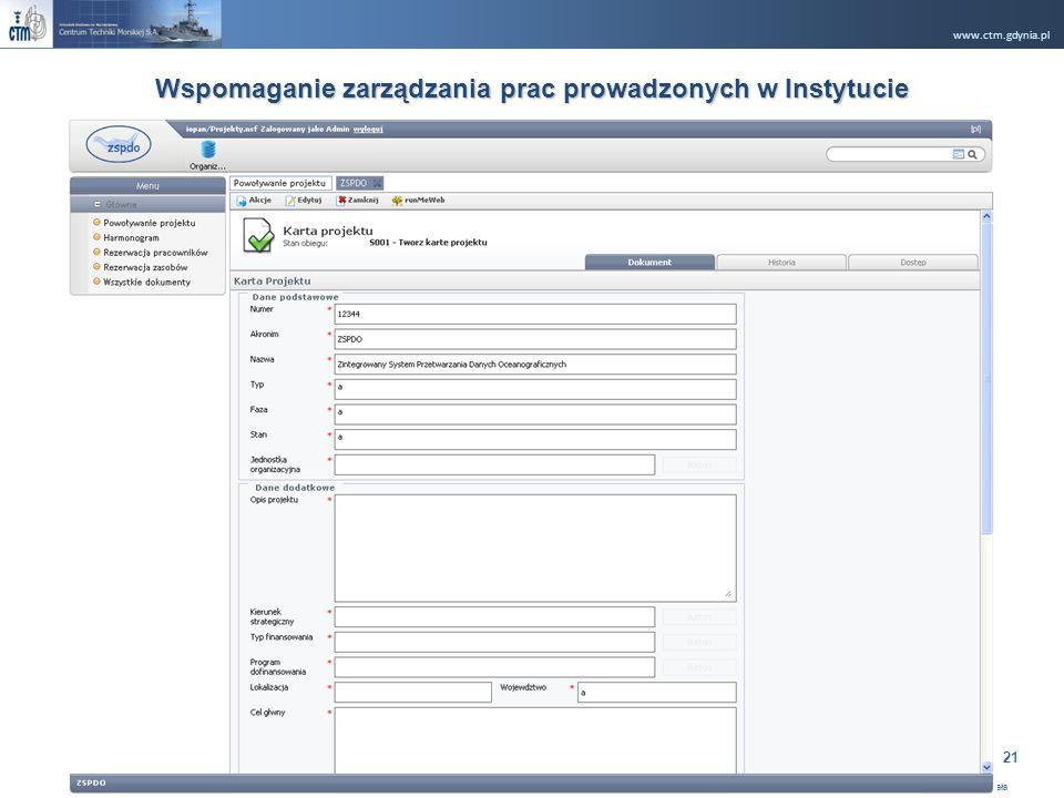 www.ctm.gdynia.pl Company Restricted Opracował: Ryszard Rugała 21 Wspomaganie zarządzania prac prowadzonych w Instytucie