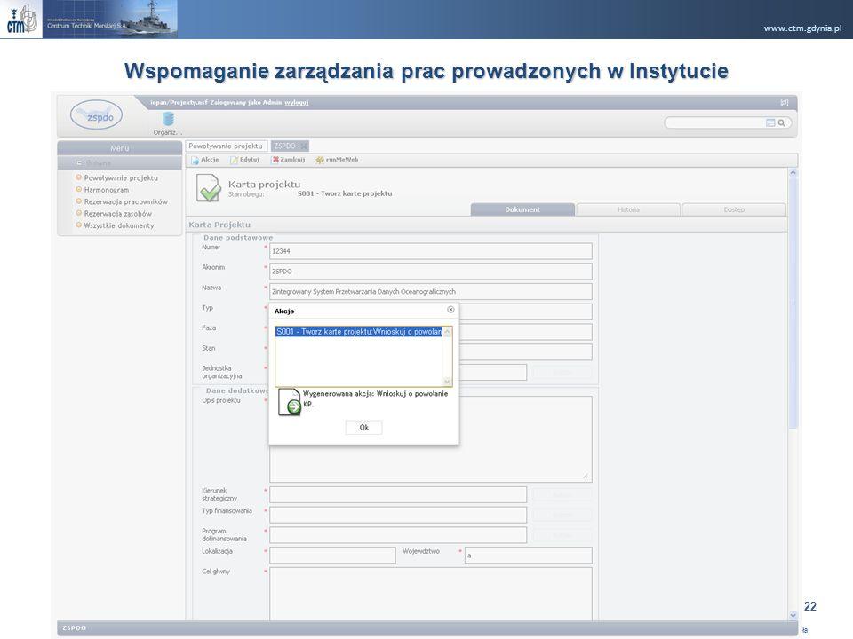 www.ctm.gdynia.pl Company Restricted Opracował: Ryszard Rugała 22 Wspomaganie zarządzania prac prowadzonych w Instytucie