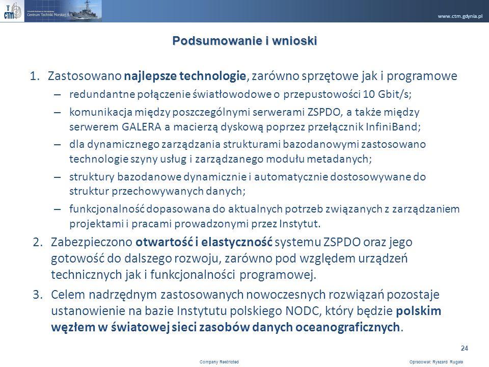www.ctm.gdynia.pl Company Restricted Opracował: Ryszard Rugała 24 1.Zastosowano najlepsze technologie, zarówno sprzętowe jak i programowe – redundantne połączenie światłowodowe o przepustowości 10 Gbit/s; – komunikacja między poszczególnymi serwerami ZSPDO, a także między serwerem GALERA a macierzą dyskową poprzez przełącznik InfiniBand; – dla dynamicznego zarządzania strukturami bazodanowymi zastosowano technologie szyny usług i zarządzanego modułu metadanych; – struktury bazodanowe dynamicznie i automatycznie dostosowywane do struktur przechowywanych danych; – funkcjonalność dopasowana do aktualnych potrzeb związanych z zarządzaniem projektami i pracami prowadzonymi przez Instytut.
