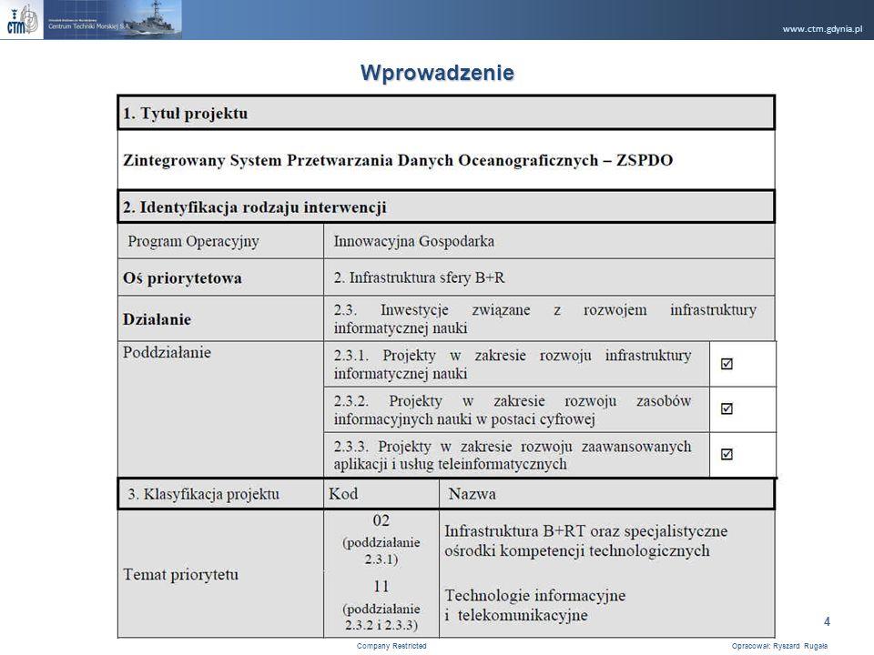 www.ctm.gdynia.pl Company Restricted Opracował: Ryszard Rugała 4 Wprowadzenie