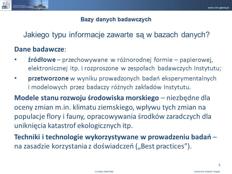 www.ctm.gdynia.pl Company Restricted Opracował: Ryszard Rugała 6 Dane badawcze: źródłowe – przechowywane w różnorodnej formie – papierowej, elektronicznej itp.