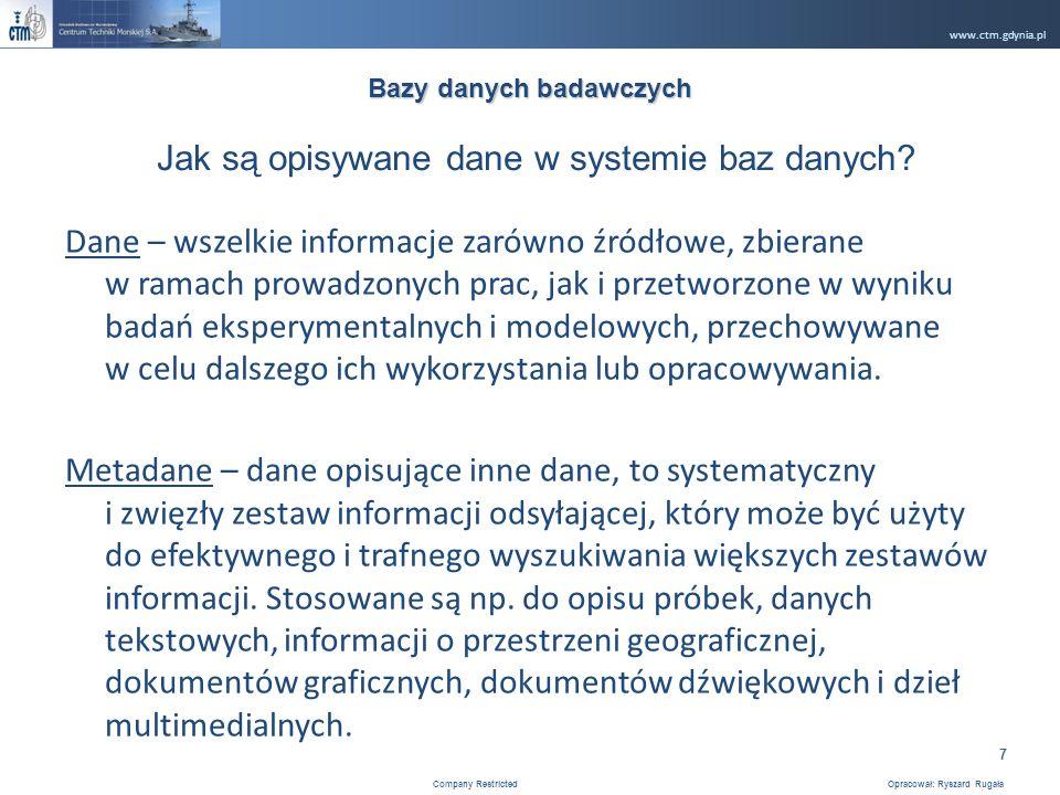 www.ctm.gdynia.pl Company Restricted Opracował: Ryszard Rugała 7 Dane – wszelkie informacje zarówno źródłowe, zbierane w ramach prowadzonych prac, jak i przetworzone w wyniku badań eksperymentalnych i modelowych, przechowywane w celu dalszego ich wykorzystania lub opracowywania.