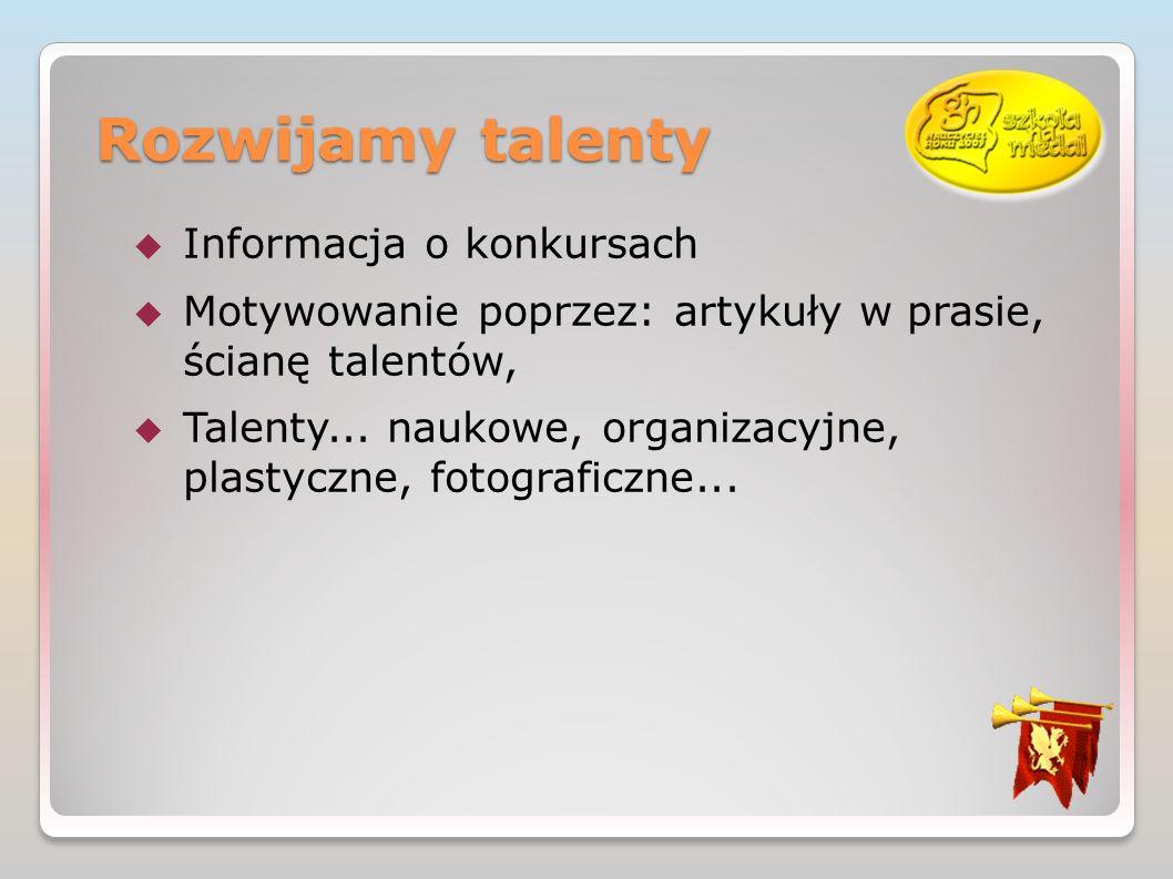 Rozwijamy talenty Informacja o konkursach Motywowanie poprzez: artykuły w prasie, ścianę talentów, Talenty...