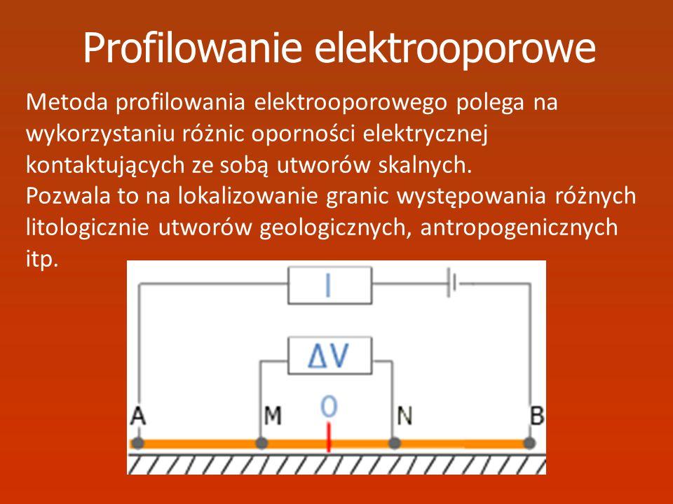 Profilowanie elektrooporowe Metoda profilowania elektrooporowego polega na wykorzystaniu różnic oporności elektrycznej kontaktujących ze sobą utworów