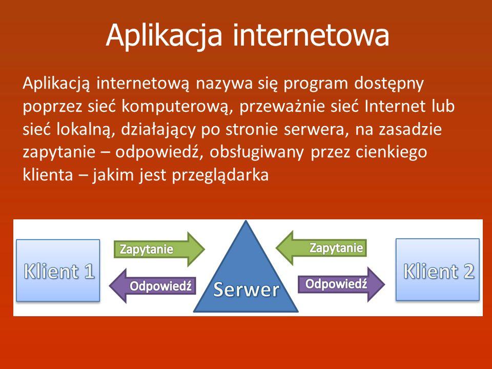 Aplikacja internetowa Aplikacją internetową nazywa się program dostępny poprzez sieć komputerową, przeważnie sieć Internet lub sieć lokalną, działając