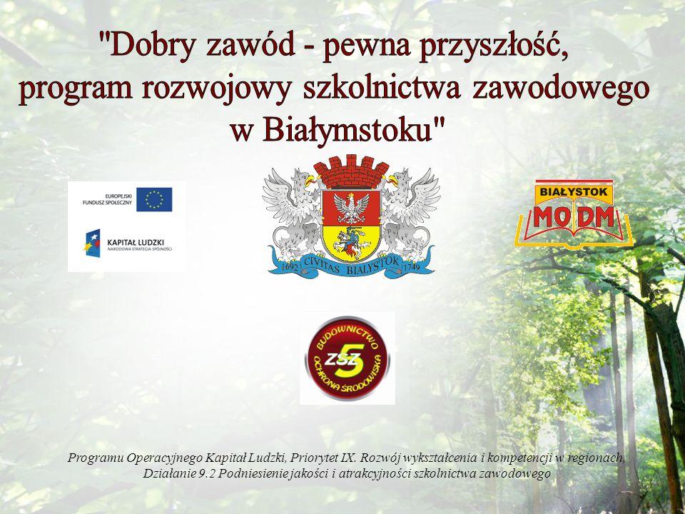 Celem projektu jest podniesienie jakości kształcenia zawodowego w białostockich szkołach zawodowych i dostosowanie go do potrzeb gospodarki miasta i regionu w ciągu 12 miesięcy.