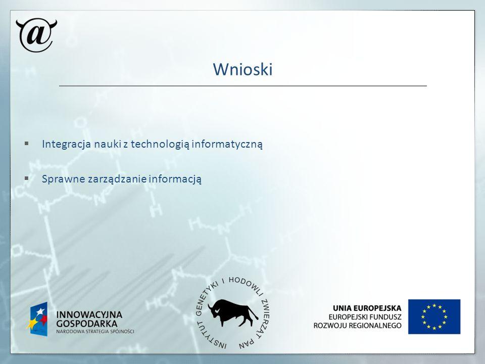 Wnioski Integracja nauki z technologią informatyczną Sprawne zarządzanie informacją
