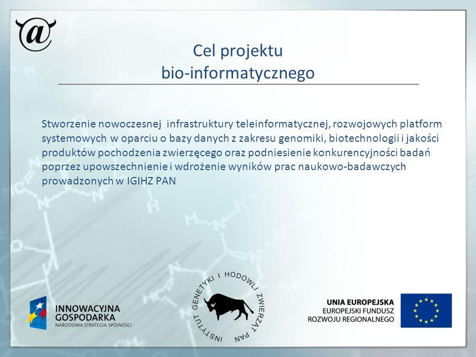 Cel projektu bio-informatycznego Stworzenie nowoczesnej infrastruktury teleinformatycznej, rozwojowych platform systemowych w oparciu o bazy danych z