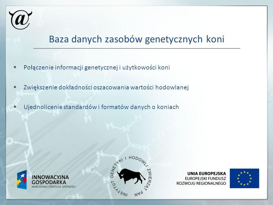Baza danych zasobów genetycznych koni Połączenie informacji genetycznej i użytkowości koni Zwiększenie dokładności oszacowania wartości hodowlanej Uje