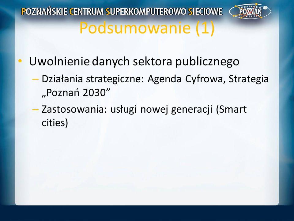 Podsumowanie (1) Uwolnienie danych sektora publicznego – Działania strategiczne: Agenda Cyfrowa, Strategia Poznań 2030 – Zastosowania: usługi nowej ge