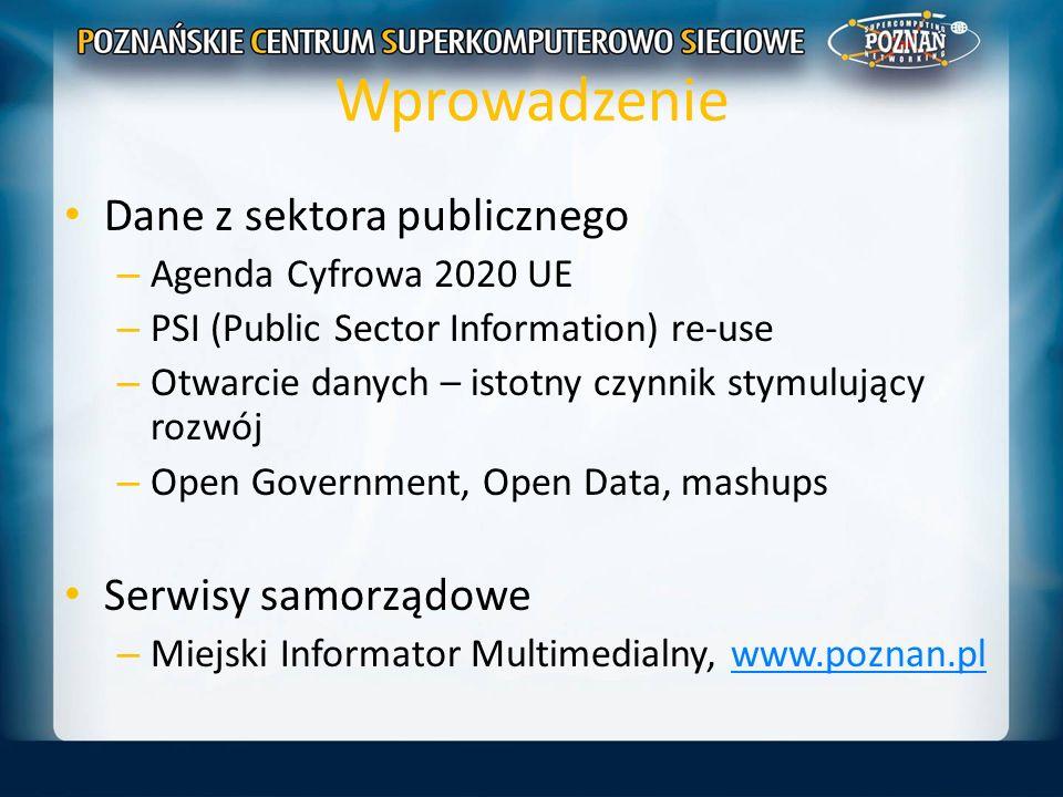 Wprowadzenie Dane z sektora publicznego – Agenda Cyfrowa 2020 UE – PSI (Public Sector Information) re-use – Otwarcie danych – istotny czynnik stymuluj