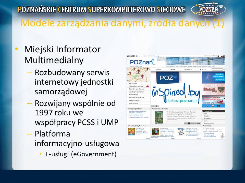 Modele zarządzania danymi, źródła danych (1) Miejski Informator Multimedialny – Rozbudowany serwis internetowy jednostki samorządowej – Rozwijany wspó