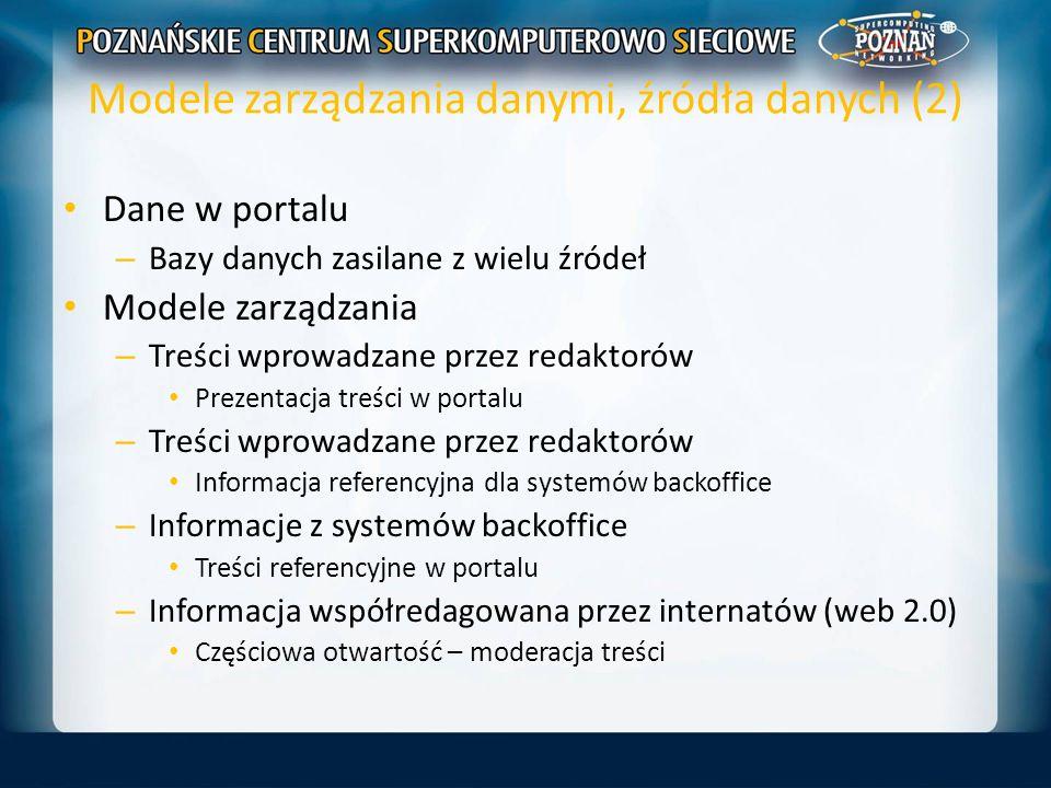 Modele zarządzania danymi, źródła danych (2) Dane w portalu – Bazy danych zasilane z wielu źródeł Modele zarządzania – Treści wprowadzane przez redakt