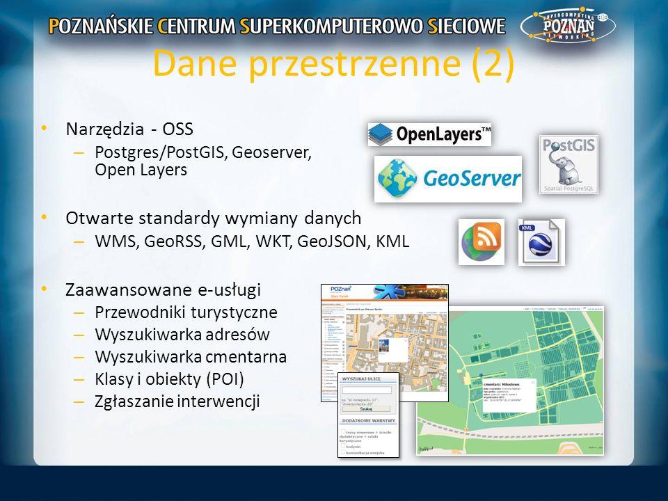 Dane przestrzenne (2) Narzędzia - OSS – Postgres/PostGIS, Geoserver, Open Layers Otwarte standardy wymiany danych – WMS, GeoRSS, GML, WKT, GeoJSON, KM