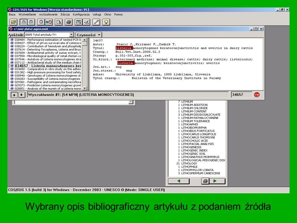 Wybrany opis bibliograficzny artykułu z podaniem źródła