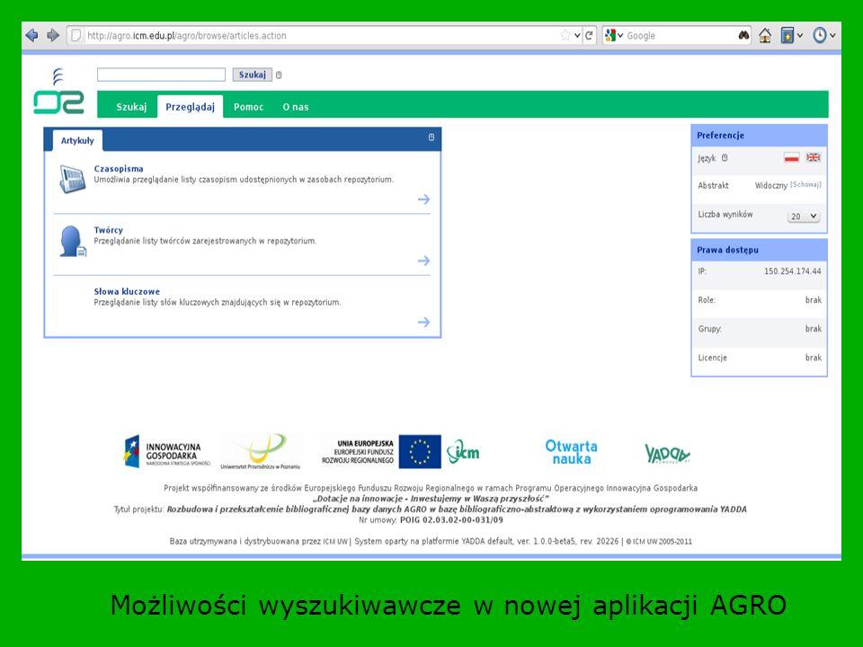 Możliwości wyszukiwawcze w nowej aplikacji AGRO