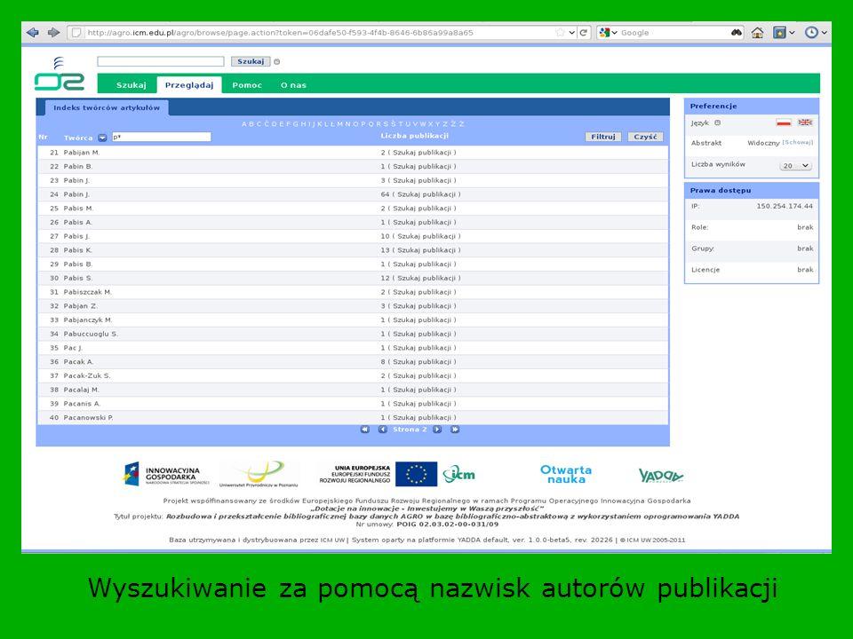 Wyszukiwanie za pomocą nazwisk autorów publikacji