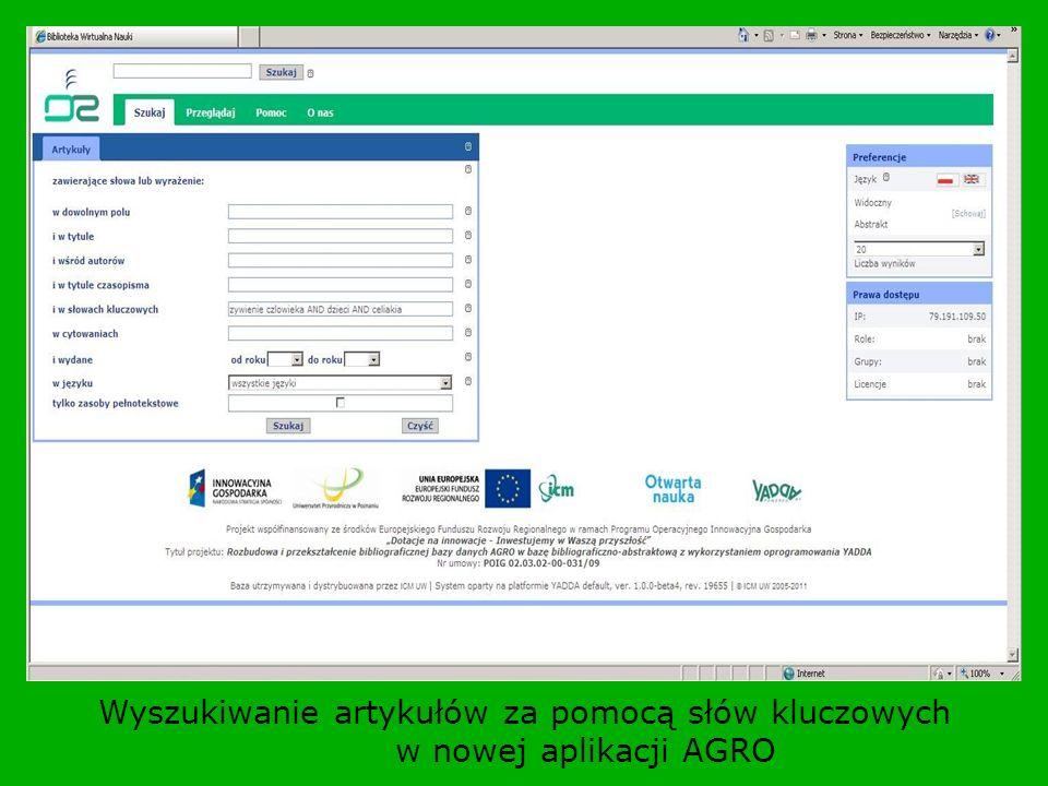 Wyszukiwanie artykułów za pomocą słów kluczowych w nowej aplikacji AGRO