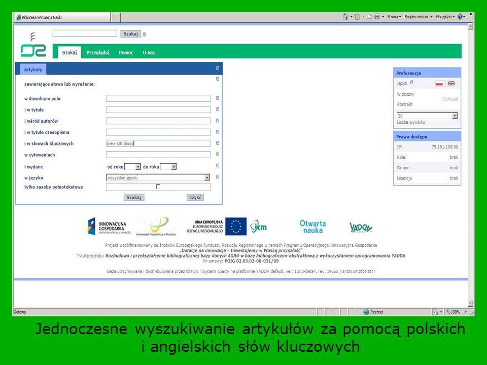 Jednoczesne wyszukiwanie artykułów za pomocą polskich i angielskich słów kluczowych
