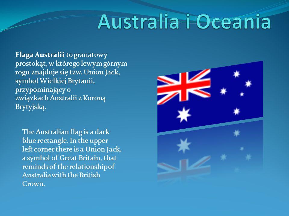 Flaga Australii to granatowy prostokąt, w którego lewym górnym rogu znajduje się tzw. Union Jack, symbol Wielkiej Brytanii, przypominający o związkach