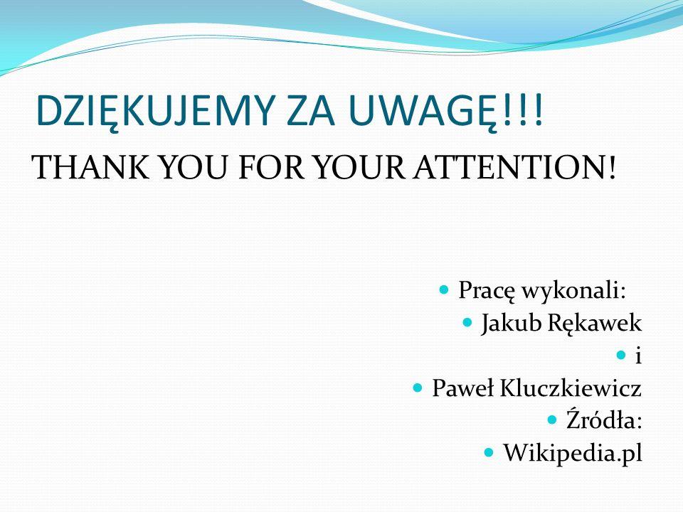 DZIĘKUJEMY ZA UWAGĘ!!! Pracę wykonali: Jakub Rękawek i Paweł Kluczkiewicz Źródła: Wikipedia.pl THANK YOU FOR YOUR ATTENTION!