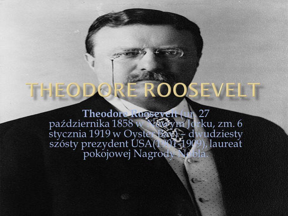 Theodore Roosevelt (ur. 27 października 1858 w Nowym Jorku, zm. 6 stycznia 1919 w Oyster Bay) – dwudziesty szósty prezydent USA(1901-1909), laureat po