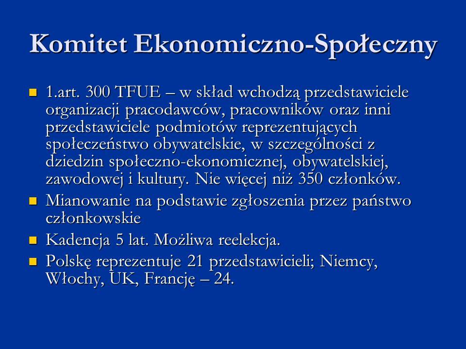 Komitet Ekonomiczno-Społeczny 1.art. 300 TFUE – w skład wchodzą przedstawiciele organizacji pracodawców, pracowników oraz inni przedstawiciele podmiot