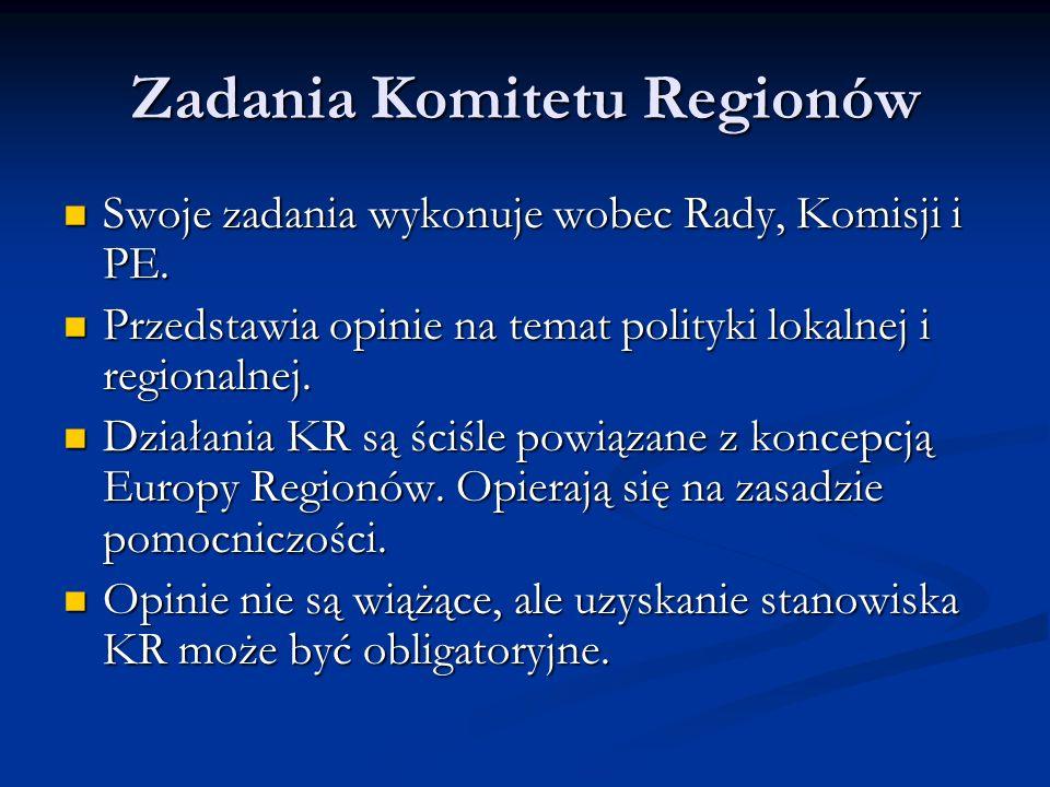 Zadania Komitetu Regionów Swoje zadania wykonuje wobec Rady, Komisji i PE. Swoje zadania wykonuje wobec Rady, Komisji i PE. Przedstawia opinie na tema