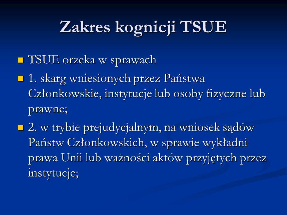 Zakres kognicji TSUE TSUE orzeka w sprawach TSUE orzeka w sprawach 1. skarg wniesionych przez Państwa Członkowskie, instytucje lub osoby fizyczne lub