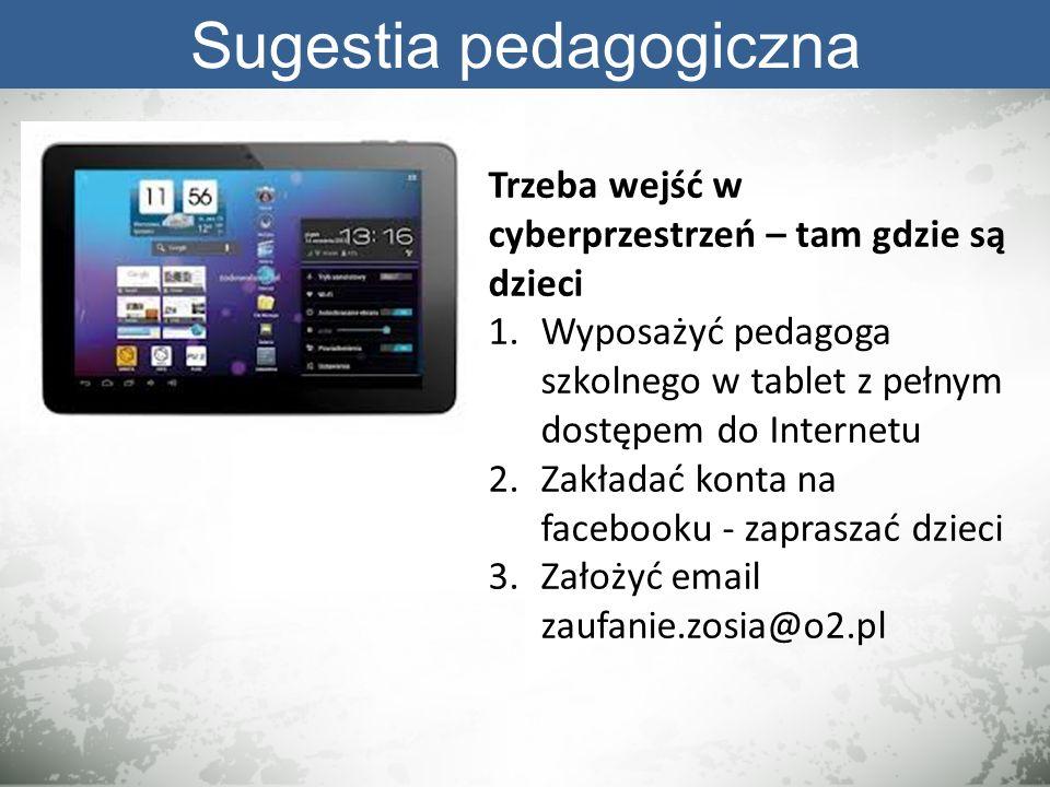 Sugestia pedagogiczna Trzeba wejść w cyberprzestrzeń – tam gdzie są dzieci 1.Wyposażyć pedagoga szkolnego w tablet z pełnym dostępem do Internetu 2.Za