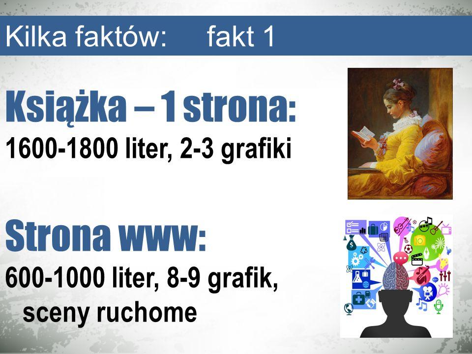 Książka – 1 strona: 1600-1800 liter, 2-3 grafiki Strona www: 600-1000 liter, 8-9 grafik, sceny ruchome Kilka faktów: fakt 1