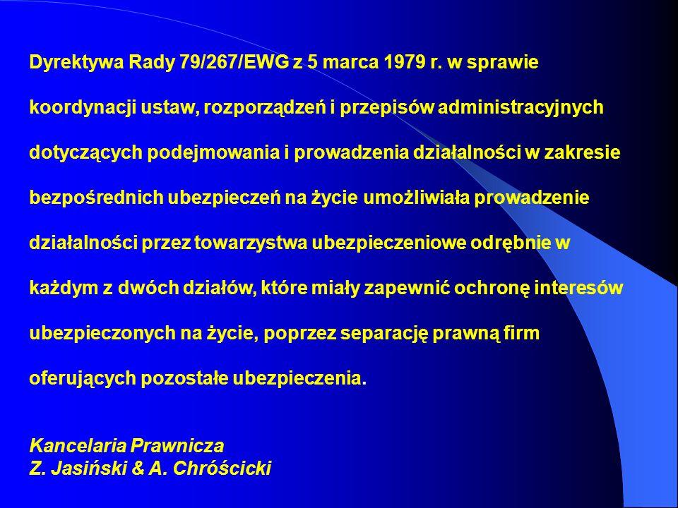 Dyrektywa Rady 79/267/EWG z 5 marca 1979 r. w sprawie koordynacji ustaw, rozporządzeń i przepisów administracyjnych dotyczących podejmowania i prowadz