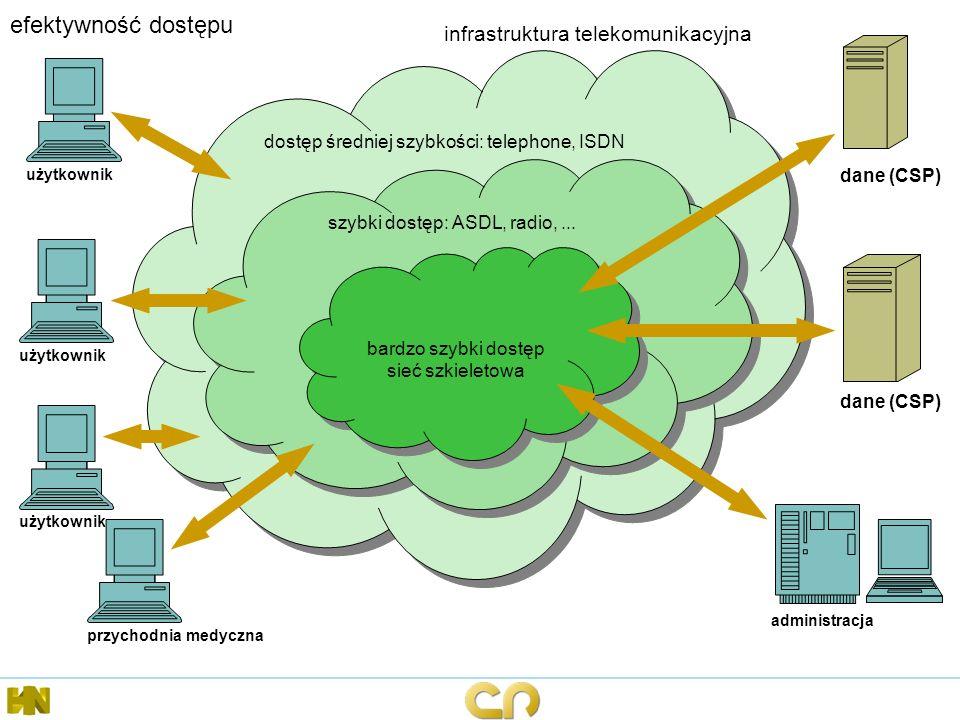 efektywność dostępu dostęp średniej szybkości: telephone, ISDN użytkownik dane (CSP) szybki dostęp: ASDL, radio,... bardzo szybki dostęp sieć szkielet