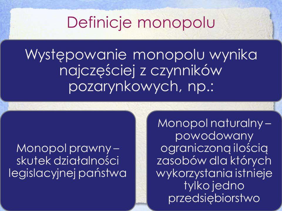 Definicje monopolu Występowanie monopolu wynika najczęściej z czynników pozarynkowych, np.: Monopol prawny – skutek działalności legislacyjnej państwa