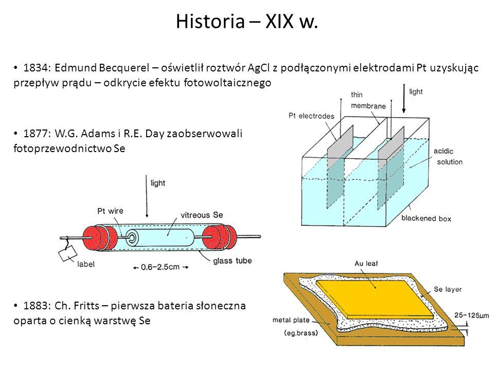 Historia – XIX w. 1834: Edmund Becquerel – oświetlił roztwór AgCl z podłączonymi elektrodami Pt uzyskując przepływ prądu – odkrycie efektu fotowoltaic